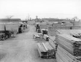 Lumber stacked at Consumers' Lumber Company